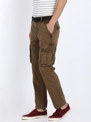 t-base men's brown regular fit cargo pants
