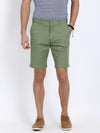 t-base Green Cotton Solid Basic Shorts