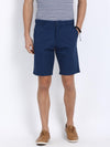 t-base Blue Cotton Solid Basic Shorts