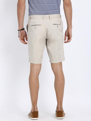 t-base Off-White Cotton Solid Basic Shorts