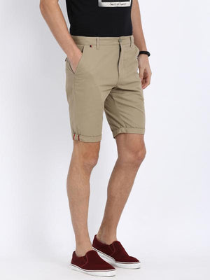 t-base Beige Cotton Solid Fold Up Shorts
