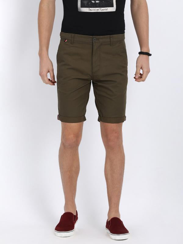 t-base Olive Cotton Solid Fold Up Shorts