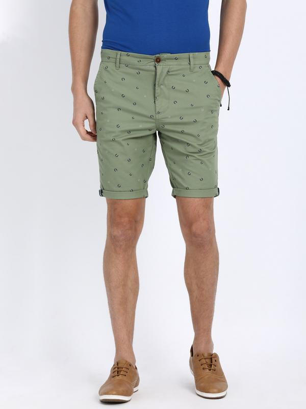 t-base Green Cotton Printed Fold Up Shorts