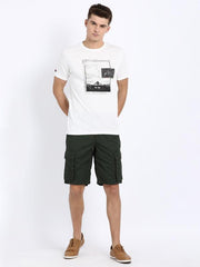 t-base Green Cotton Solid Cargo Shorts
