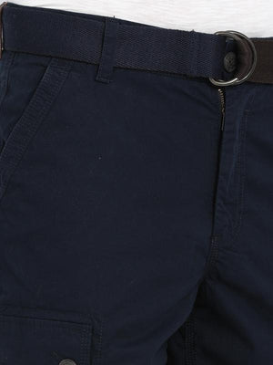 t-base Navy Blue Cotton Solid Cargo Shorts