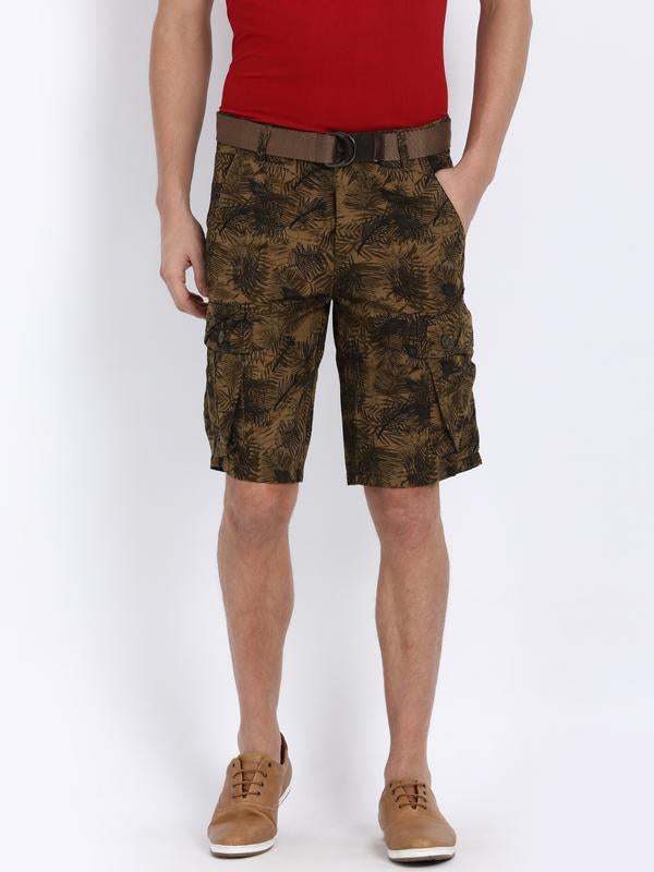 t-base Brown Cotton Camo Print Cargo Shorts