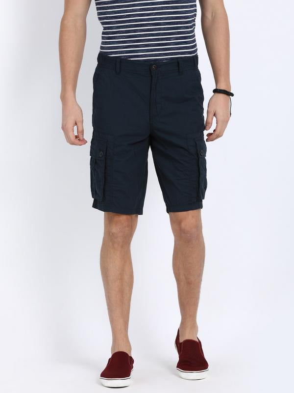 t-base Navy Cotton Solid Cargo Shorts