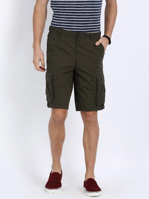t-base Olive Cotton Solid Cargo Shorts