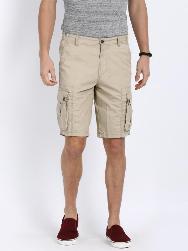 t-base Beige Cotton Solid Cargo Shorts