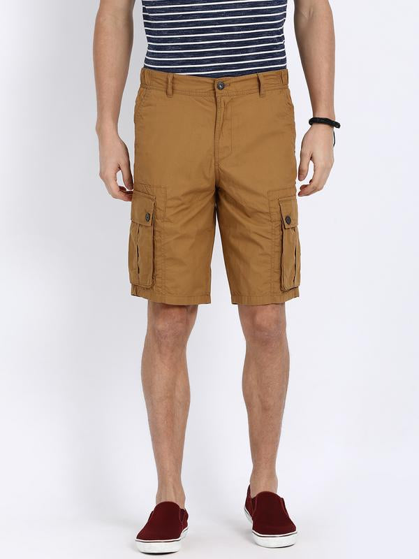 t-base Khaki Cotton Solid Cargo Shorts