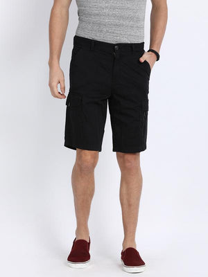 t-base Black Cotton Solid Cargo Shorts