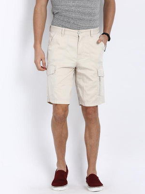 t-base Off-White Cotton Solid Cargo Shorts