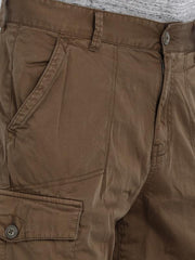 t-base Brown Cotton Solid Cargo Shorts