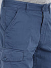 t-base Blue Cotton Solid Cargo Shorts