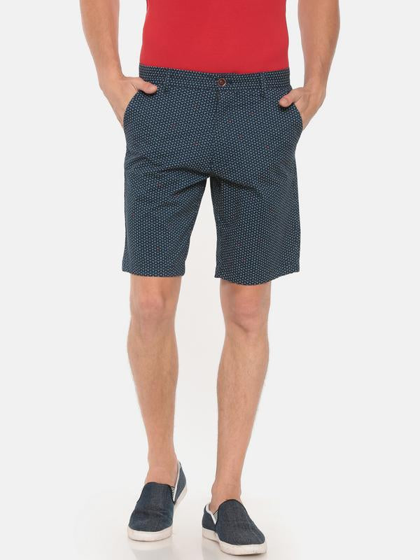 t-base navy printed chino shorts