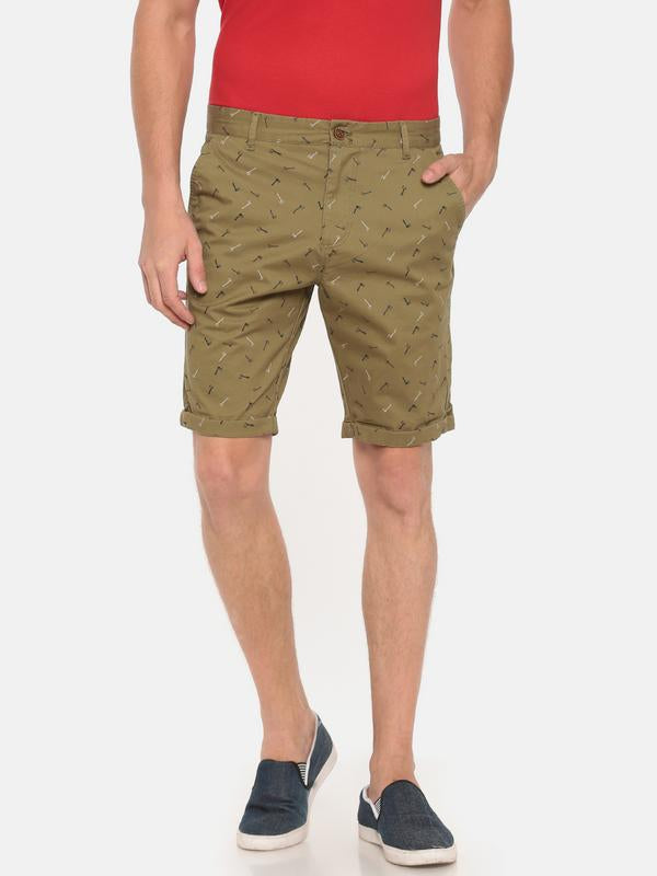 t-base olive printed fold up shorts