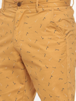 t-base gold printed fold up shorts
