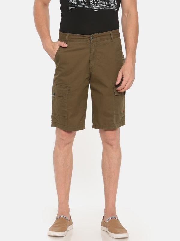 t-base olive solid cargo shorts