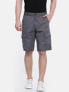t-base grey solid cargo shorts