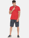 t-base blue printed cargo shorts