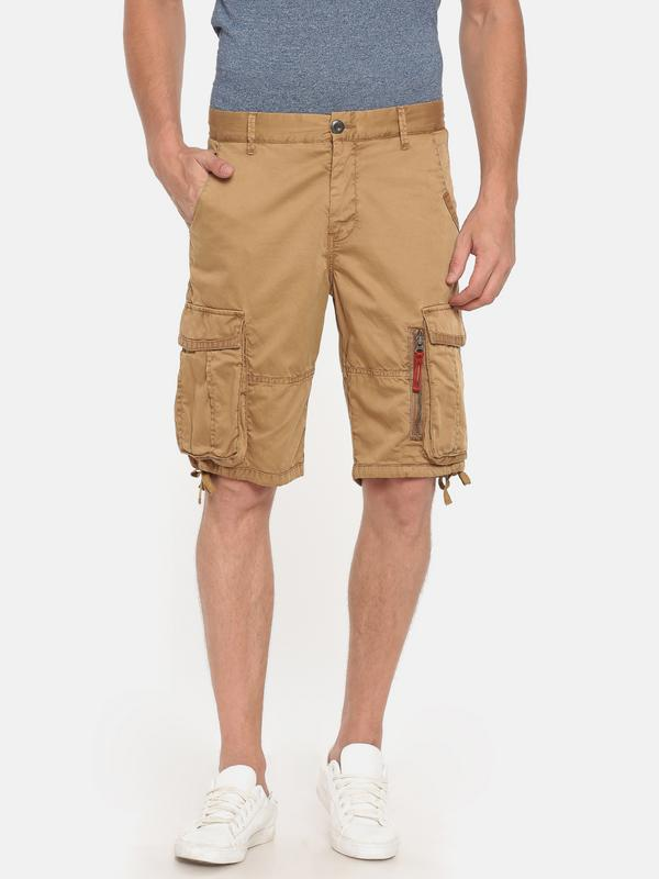 t-base khaki solid cargo shorts