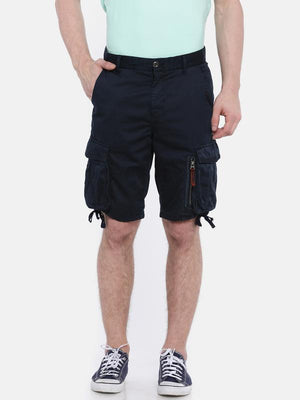 t-base navy solid cargo shorts