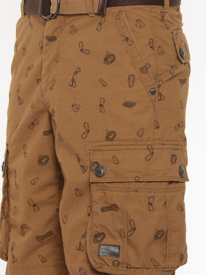 t-base brown printed cargo shorts