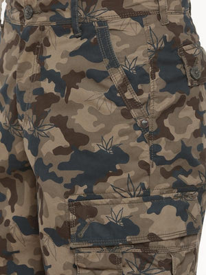 t-base olive printed cargo shorts