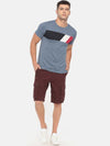 t-base maroon solid cargo shorts