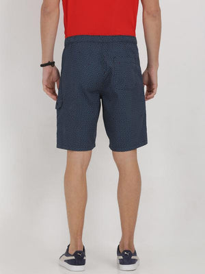 t-base blue cotton printed lounge shorts