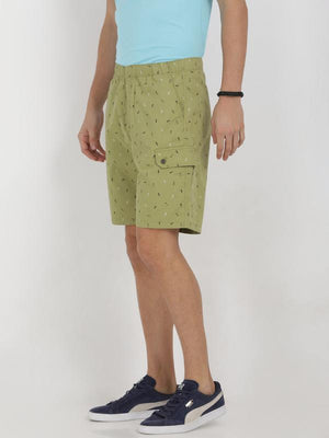 t-base green cotton printed lounge shorts