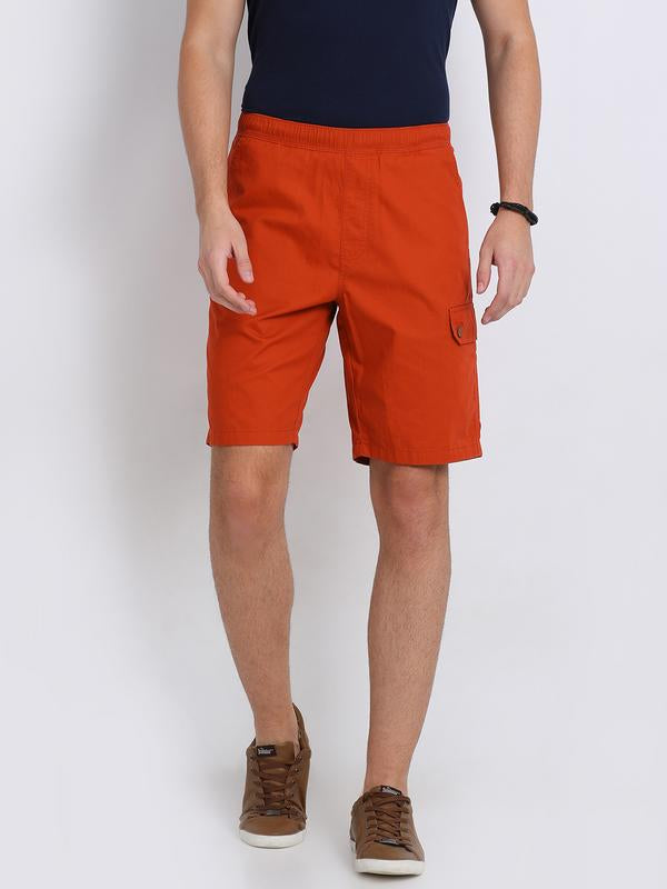 t-base red cotton solid lounge shorts