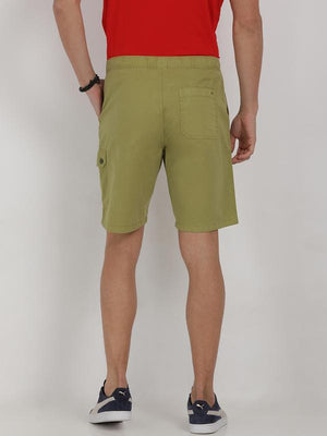 t-base green cotton solid lounge shorts