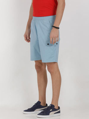 t-base blue cotton solid lounge shorts