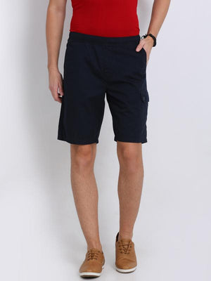 t-base navy blue cotton solid lounge shorts