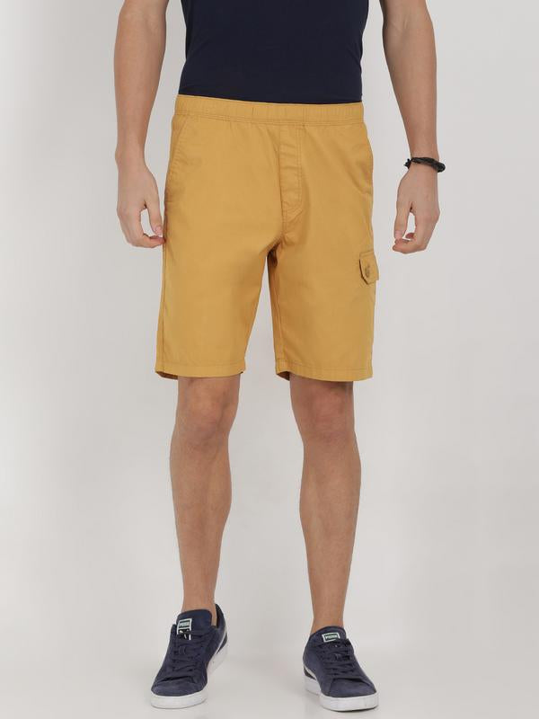 t-base yellow cotton solid lounge shorts
