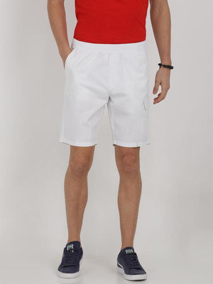 t-base white cotton solid lounge shorts