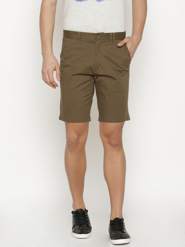 t-base Men's Green Cotton Solid Chino Short