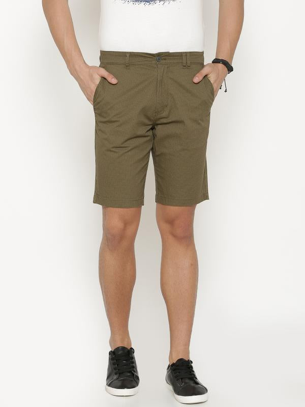 t-base Men's Olive Cotton Printed Chino Short