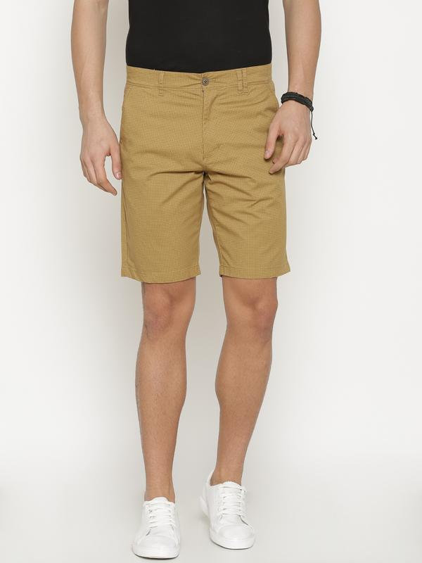 t-base Men's Tan Cotton Printed Chino Short