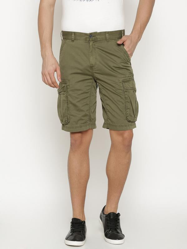 t-base Men's Green Cotton Solid Cargo Short