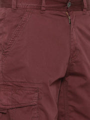 t-base Men's Maroon Cotton Solid Cargo Short