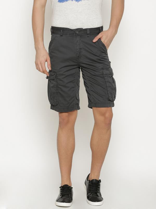 t-base Men's Grey Cotton Solid Cargo Short