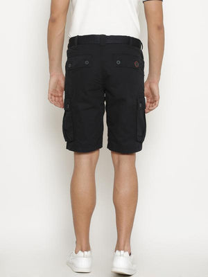 t-base Men's Navy Blue Cotton Solid Cargo Short