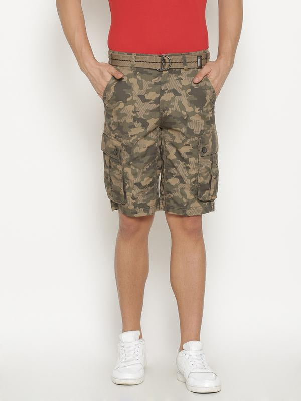 t-base Men's Khaki Cotton Printed Cargo Short