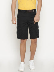 t-base Men's Blue Cotton Solid Cargo Short