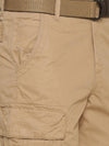 t-base Men's Tan Cotton Solid Cargo Short
