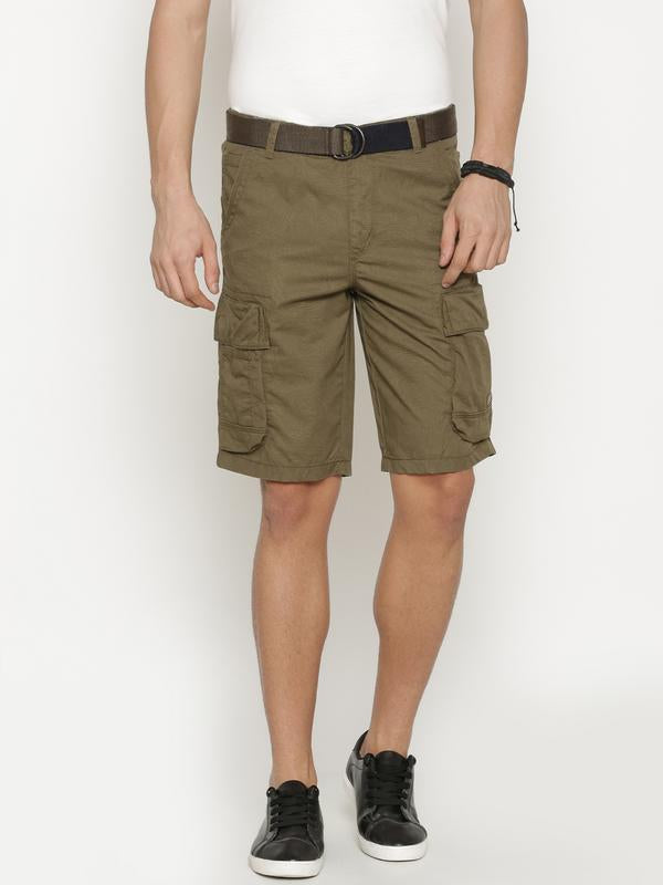 t-base Men's Olive Cotton Solid Cargo Short