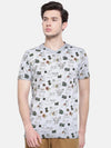 t-base men's grey v neck printed t-shirt