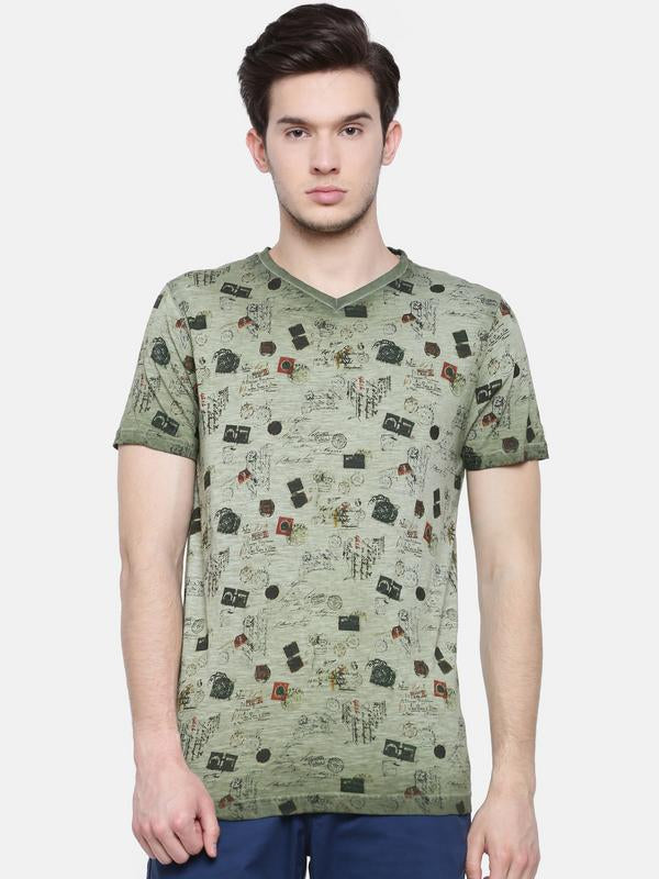 t-base men's olive v neck printed t-shirt
